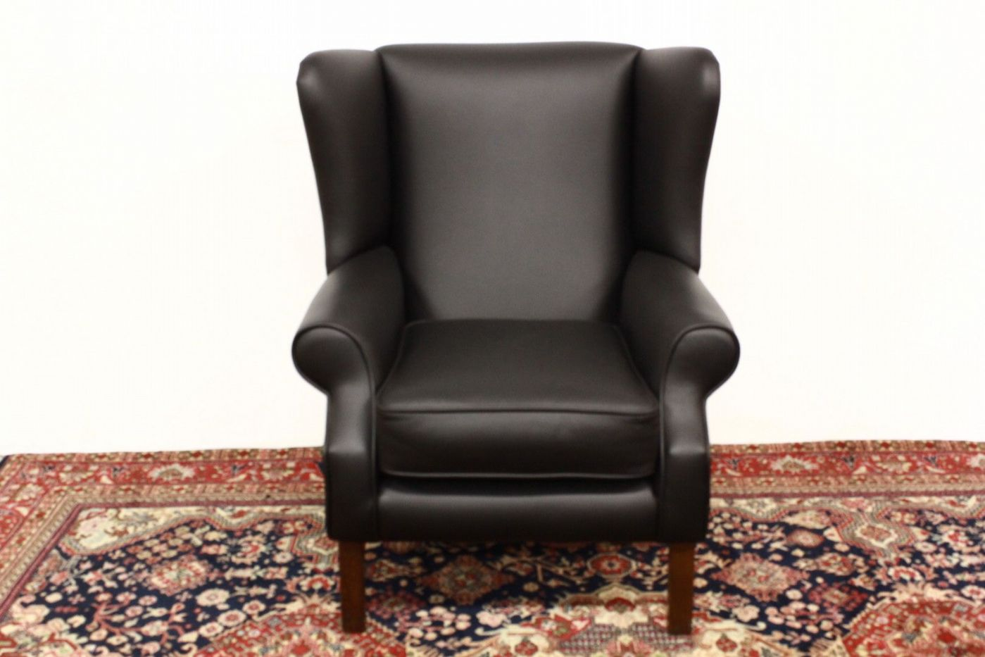 Poltrona bergere in pelle nera originale inglese english old ...