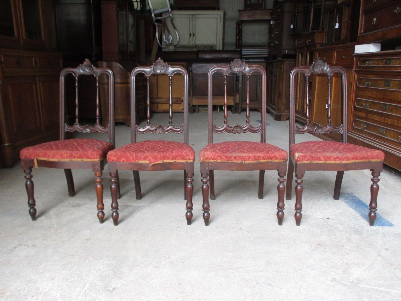 Sedie Depoca : Gruppo di quattro sedie luigi filippo in noce da restaurare epoca