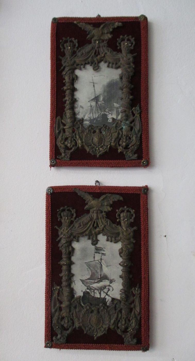 Par de marcos de metal en relieve - marco - con estampados navales ...