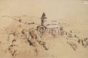 亨利·海登,与教堂的风景