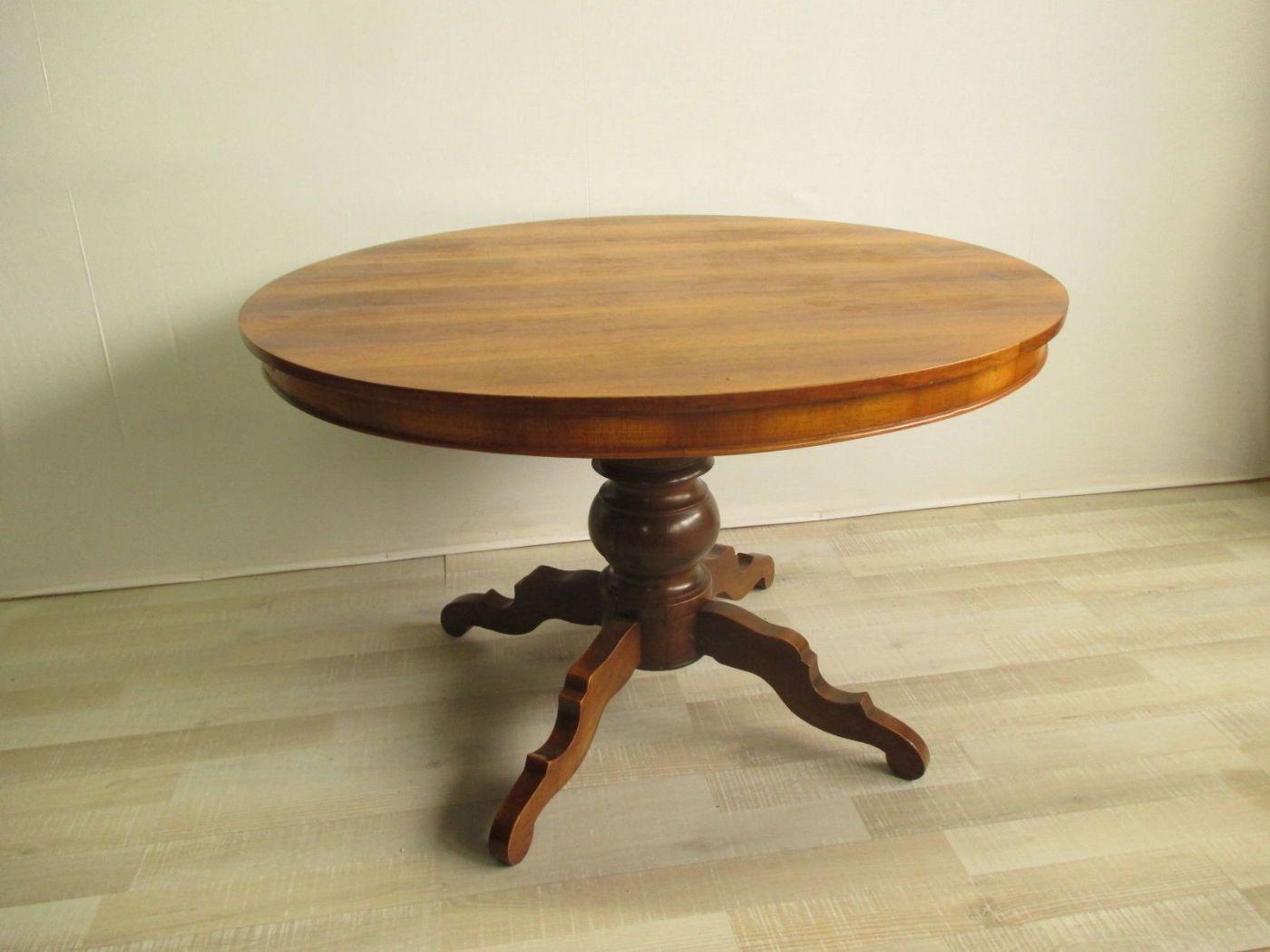 Tavolo Con Gamba Centrale Allungabile tavolo tondo-rotondo allungabile noce - lastronato epoca 900