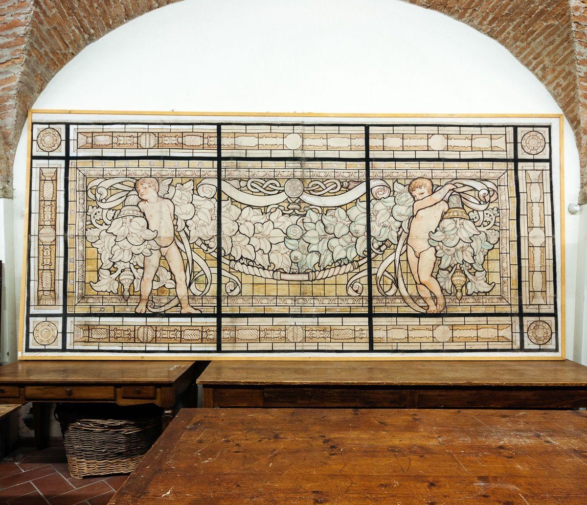 Grande pannello decorativo tempera su carta Galileo Chini