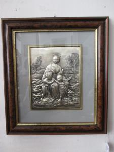 Capoletto Madonna of the goldfinch - embossed 925 silver - Raphael