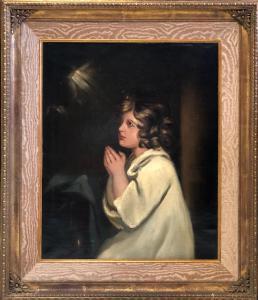 Olio su tela . Bambina in preghiera . The Infant Samuel  copia