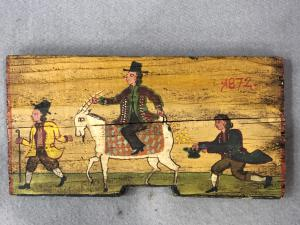 Panel in painted Sicilian cart wood with painted scene. Date 1872.