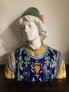 Busto in maiolica,Figura maschile rinascimentale.Manifattura Minghetti.Bologna.