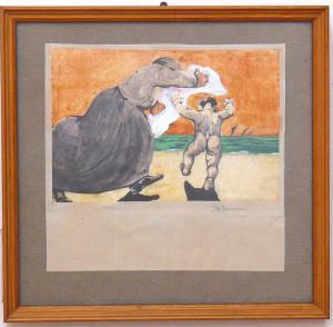 """儿童水彩画的"""" Volterrani""""女人-CA / 1072"""