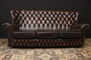 Chesterfield bergere three seater sofa in deer brown leather
