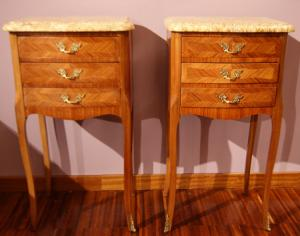 Antique Louis XV style bedside tables with marble top