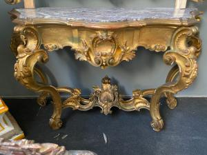 Golden console table with white marble top 170x55x97h