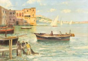 """""""码头上有船民和渔民""""-布面油画C. Ferrari,布面油画"""