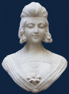 19th century Female bust White marble, 42 cm in height