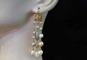 Pendientes de perlas y piedras (KLIMT)