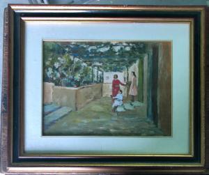 在木头的油画与图和游廊签名:Arturo Tosi。