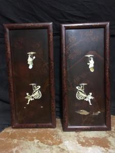 Coppia di quadri decorazioni cinesi