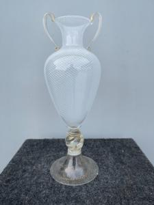 Half filigree double-sided glass vase. Brothers Toso, Murano.