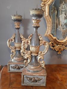 一对1700年代后期的托斯卡纳烛台