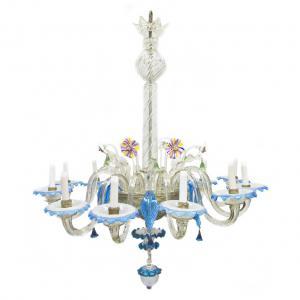 Antico Lampadario in vetro di Murano blu e trasparente