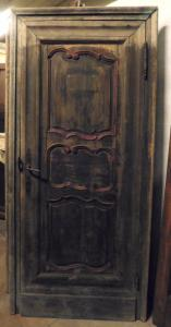 pts694 - Paar Türen aus dem 19. Jahrhundert mit Rahmen, cm l 98 xh 213