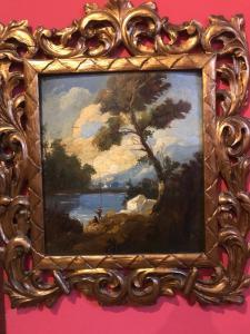 Pareja de pinturas de paisajes. Siglo 19