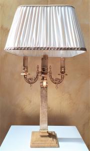 Lampada da tavolo in marmo giallo e ottone dorato