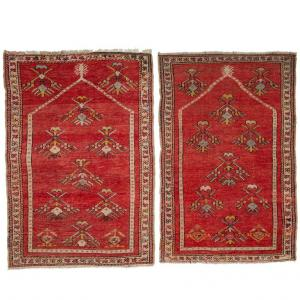 Pair of Antique Kirshehir Prayer Bedside Carpets