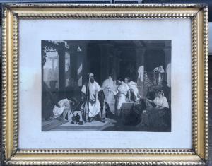 Stampa con cornice raffigurante scena biblica tratta dalla Genesi.Francia.