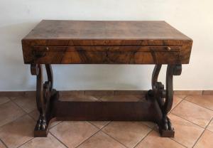 Olive wood veneered desk
