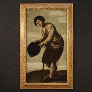 Antiga pintura italiana Mendigo do século 18