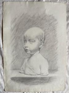 Pencil drawing on paper, marble bust of a boy, Federico Pietra, Bologna.