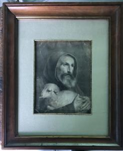 Pencil drawing depicting friar with sheep.