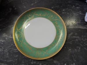plate with green border, diameter 23.5 cm, German porcelain early 1900s