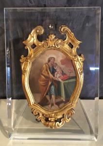 Dipinto olio su rame con cornice in bronzo dorato periodo Luigi XIV