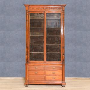 Larch bookcase with sliding doors, Office bookcase in larch sliding doors
