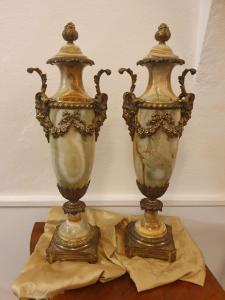 Pair of onyx and gilded bronze vases