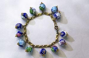 Bracelet with green and blue murrine