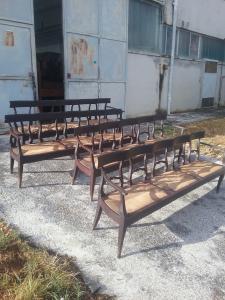 4 divani uguali  classici  lucchesi in ciliegio epoca 1700 da salone della musica in prima patina dell epoca 237xh82xp45 garanzia termini di legge