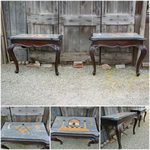 Древняя пара деревянных консолей с мраморной столешницей