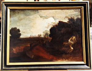 Paesaggio con soldati a cavallo in corsa, ambito di Alessio De Marchis (1684-1752)