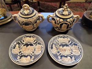 Pair of majolica tureens, early 20th century Luxembourg