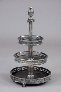 Elegante alzatina portadolci in argento ed ebano, XIX secolo