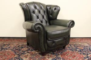 Original English Chesterfield armchair in green-asparagus gray leather