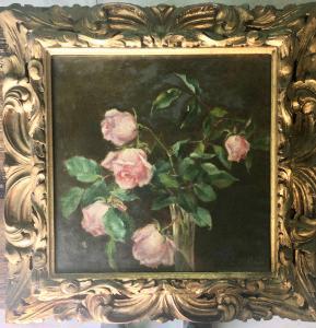 """Dipinto olio su tela raffigurante vaso con fiori.Forma C.Bollani"""""""