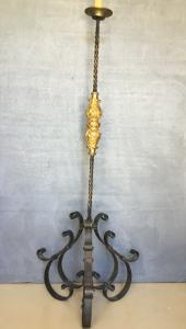 Wrought iron and gilded wood candelabra