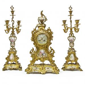 Clock with Bronze Candelabra and Painted Porcelain Inserts