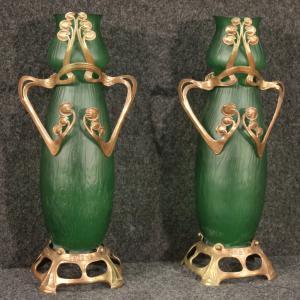 Coppia di vasi francesi in vetro in stile Art Nouveau