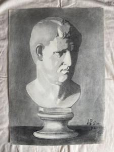 Pencil drawing on paper depicting a marble bust Arturo Pietra. 1902