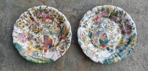 Due piatti in ceramica con fiori e pappagalli