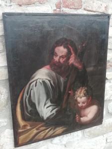 Affascinante dipinto su tavola raffigurante S Giuseppe in meditazione e Bambino, Maestro Emiliano del primo quarto del XVII'secolo