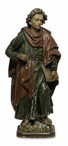 Fascinante escultura de madera del final de los 600 primeros años del 700 Evangelista cm 68